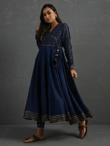 (Set of 2) Indigo Gota Kissed Chanderi Kurta & Pant Kurta The Neem Tree Sonal Kabra Buy Shop online premium luxury fashion clothing natural fabrics sustainable organic hand made handcrafted artisans craftsmen