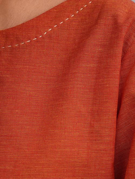 Set of 2 - Orange top with yellow skirt Set The Neem Tree Sonal Kabra Buy Shop online premium luxury fashion clothing natural fabrics sustainable organic hand made handcrafted artisans craftsmen