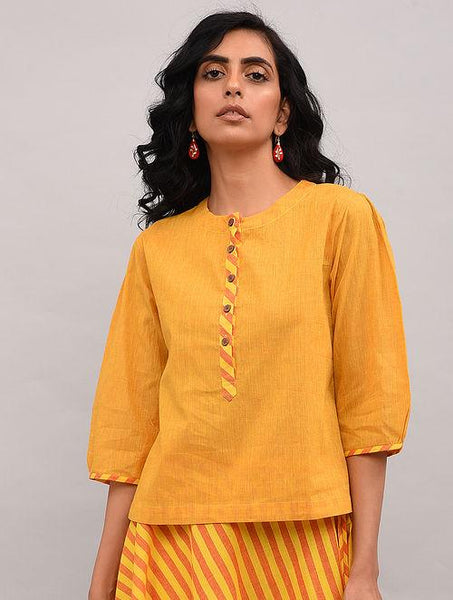 Set of 2 - Yellow top with striped skirt Set The Neem Tree Sonal Kabra Buy Shop online premium luxury fashion clothing natural fabrics sustainable organic hand made handcrafted artisans craftsmen