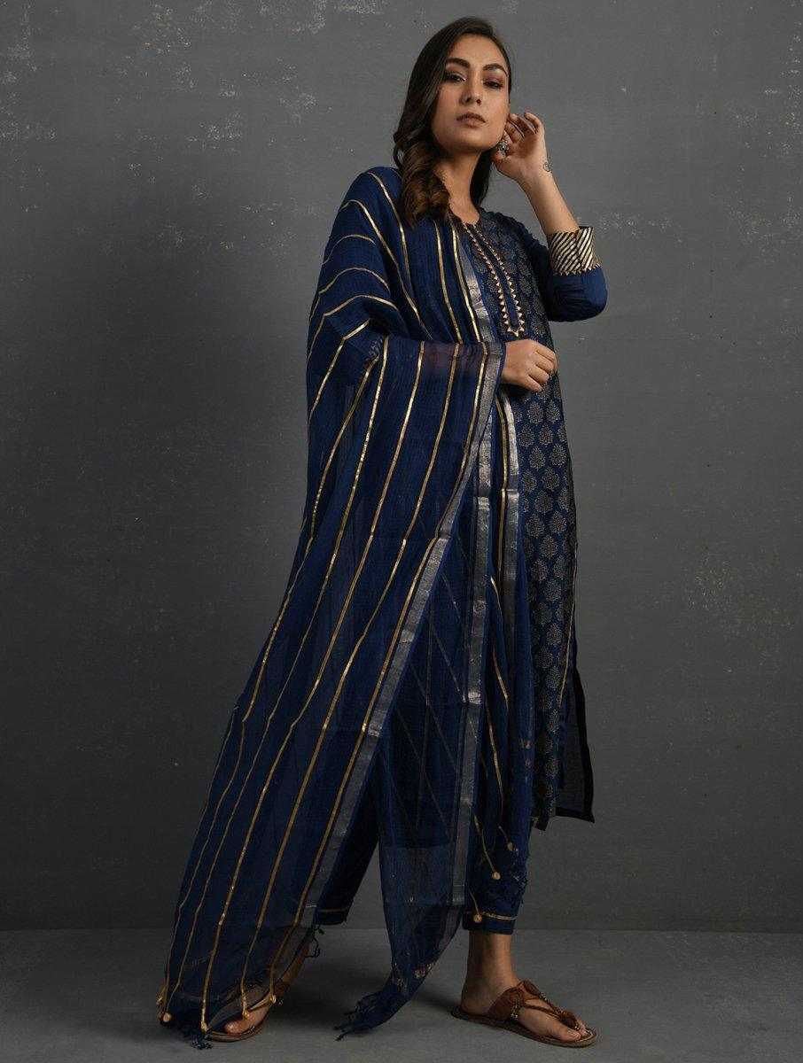 (Set of 3) Indigo Block Printed Handwoven Chanderi Kurta with Mul Slip and Pants Kurta The Neem Tree Sonal Kabra Buy Shop online premium luxury fashion clothing natural fabrics sustainable organic hand made handcrafted artisans craftsmen
