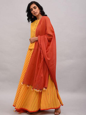 Set of 3 - Striped top and skirt with dupatta Set The Neem Tree Sonal Kabra Buy Shop online premium luxury fashion clothing natural fabrics sustainable organic hand made handcrafted artisans craftsmen