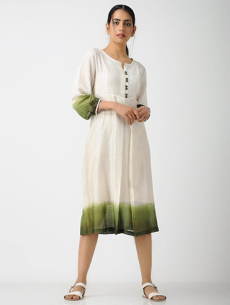 Shades of olive (Set of 2) Dress Sonal Kabra Sonal Kabra Buy Shop online premium luxury fashion clothing natural fabrics sustainable organic hand made handcrafted artisans craftsmen