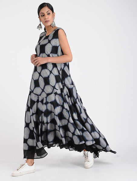 Shibori A-line dress Dress Sonal Kabra Sonal Kabra Buy Shop online premium luxury fashion clothing natural fabrics sustainable organic hand made handcrafted artisans craftsmen