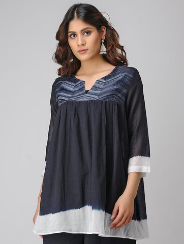 Shibori gather top Top Sonal Kabra Sonal Kabra Buy Shop online premium luxury fashion clothing natural fabrics sustainable organic hand made handcrafted artisans craftsmen
