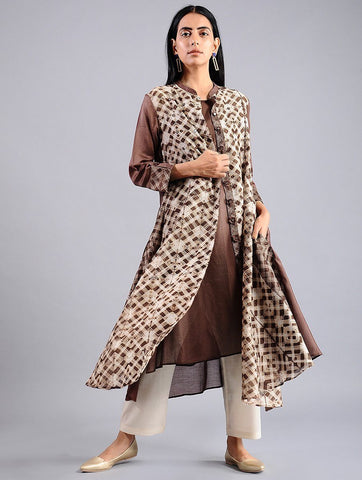 Shibori jacket dress in Brown (Set of 2) Jacket dress Sonal Kabra Sonal Kabra Buy Shop online premium luxury fashion clothing natural fabrics sustainable organic hand made handcrafted artisans craftsmen