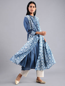 Shibori jacket dress in Indigo (Set of 2) Jacket dress Sonal Kabra Sonal Kabra Buy Shop online premium luxury fashion clothing natural fabrics sustainable organic hand made handcrafted artisans craftsmen