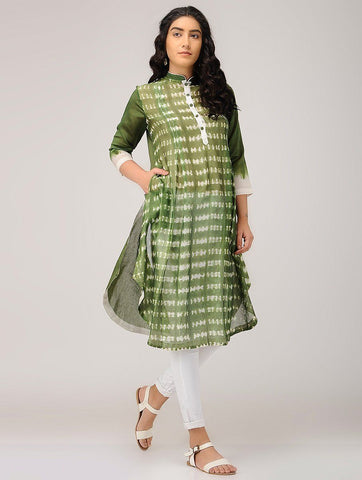 Shibori kurta-Olive Kurta Sonal Kabra Sonal Kabra Buy Shop online premium luxury fashion clothing natural fabrics sustainable organic hand made handcrafted artisans craftsmen