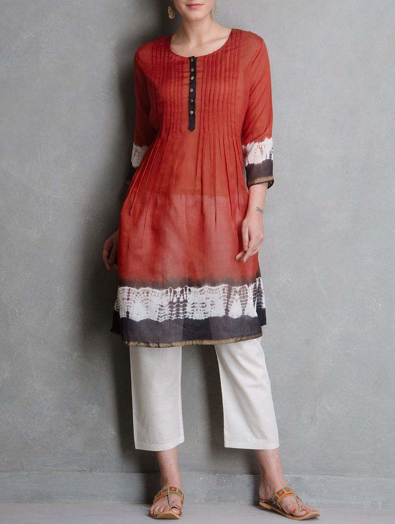Shibori pin tuck dress Dress Sonal Kabra Sonal Kabra Buy Shop online premium luxury fashion clothing natural fabrics sustainable organic hand made handcrafted artisans craftsmen