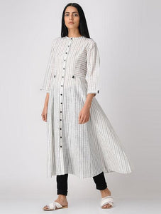Stripes kali dress Jacket dress The Neem Tree Sonal Kabra Buy Shop online premium luxury fashion clothing natural fabrics sustainable organic hand made handcrafted artisans craftsmen