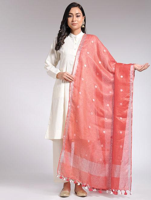 Sunset linen dupatta Sarees & Stoles The Neem Tree Sonal Kabra Buy Shop online premium luxury fashion clothing natural fabrics sustainable organic hand made handcrafted artisans craftsmen