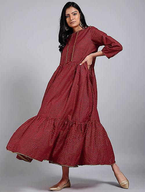 Tiered maxi dress Dress The Neem Tree Sonal Kabra Buy Shop online premium luxury fashion clothing natural fabrics sustainable organic hand made handcrafted artisans craftsmen
