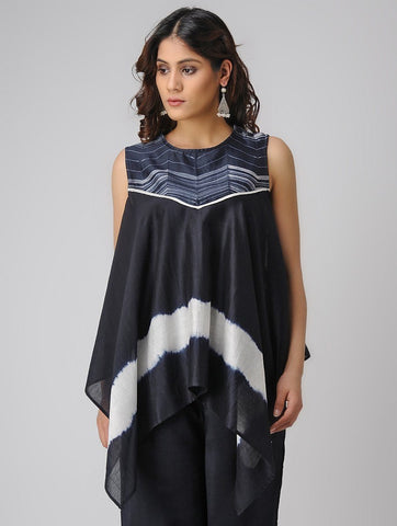 Waterfall indigo top Top Sonal Kabra Sonal Kabra Buy Shop online premium luxury fashion clothing natural fabrics sustainable organic hand made handcrafted artisans craftsmen