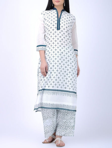 White & blue kurta Kurta Sonal Kabra Sonal Kabra Buy Shop online premium luxury fashion clothing natural fabrics sustainable organic hand made handcrafted artisans craftsmen