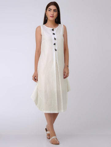 White drape dress Dress The Neem Tree Sonal Kabra Buy Shop online premium luxury fashion clothing natural fabrics sustainable organic hand made handcrafted artisans craftsmen