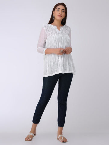 White gathered top Top The Neem Tree Sonal Kabra Buy Shop online premium luxury fashion clothing natural fabrics sustainable organic hand made handcrafted artisans craftsmen