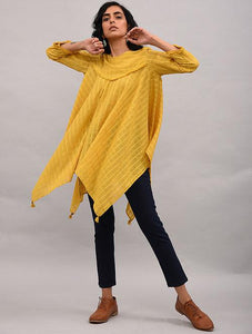 Yellow Asymmetrical Cotton Top with Tassels Top The Neem Tree Sonal Kabra Buy Shop online premium luxury fashion clothing natural fabrics sustainable organic hand made handcrafted artisans craftsmen