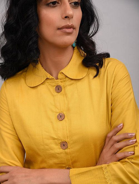 Yellow Box Pleat Cotton Silk Jacket Dress The Neem Tree Sonal Kabra Buy Shop online premium luxury fashion clothing natural fabrics sustainable organic hand made handcrafted artisans craftsmen