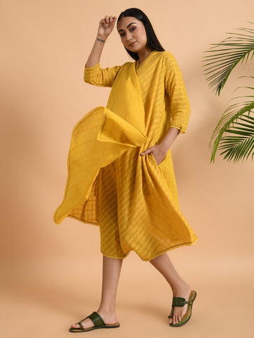 Yellow Cotton Dobby Jacket Jacket dress The Neem Tree Sonal Kabra Buy Shop online premium luxury fashion clothing natural fabrics sustainable organic hand made handcrafted artisans craftsmen