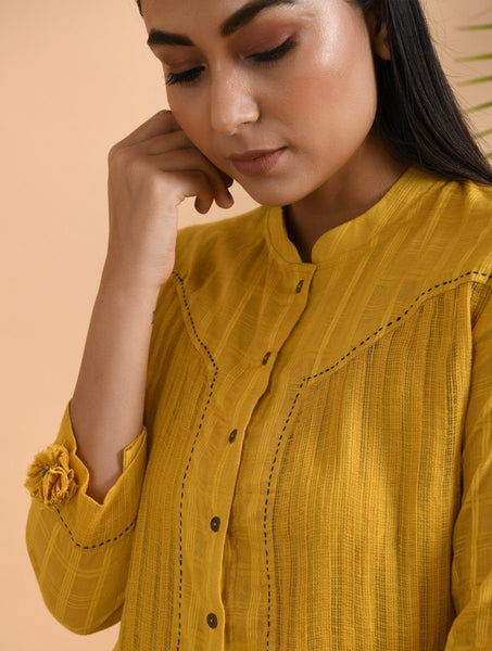 Yellow Cotton Dobby Shirt with Slip (Set of 2) Top The Neem Tree Sonal Kabra Buy Shop online premium luxury fashion clothing natural fabrics sustainable organic hand made handcrafted artisans craftsmen