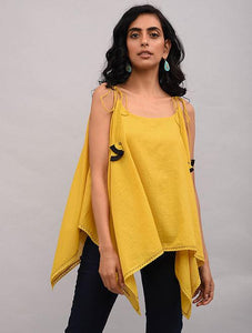 Yellow Cotton Dobby Top Top The Neem Tree Sonal Kabra Buy Shop online premium luxury fashion clothing natural fabrics sustainable organic hand made handcrafted artisans craftsmen