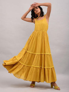 Yellow Cotton Maxi Dress Dress The Neem Tree Sonal Kabra Buy Shop online premium luxury fashion clothing natural fabrics sustainable organic hand made handcrafted artisans craftsmen