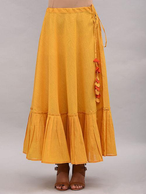 Yellow Cotton Skirt Skirt The Neem Tree Sonal Kabra Buy Shop online premium luxury fashion clothing natural fabrics sustainable organic hand made handcrafted artisans craftsmen