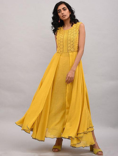 Yellow Lace Trimmed Double layered Dress Dress The Neem Tree Sonal Kabra Buy Shop online premium luxury fashion clothing natural fabrics sustainable organic hand made handcrafted artisans craftsmen