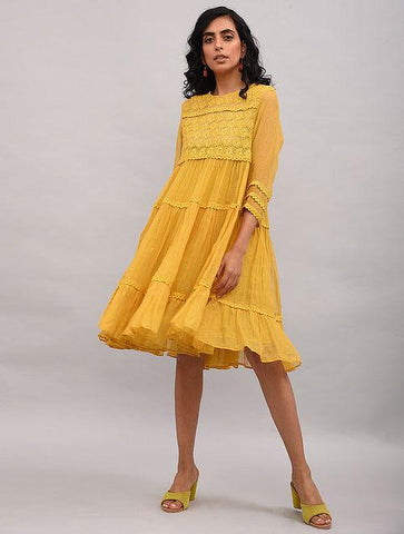 Yellow Lace Trimmed Kota Dress Dress The Neem Tree Sonal Kabra Buy Shop online premium luxury fashion clothing natural fabrics sustainable organic hand made handcrafted artisans craftsmen