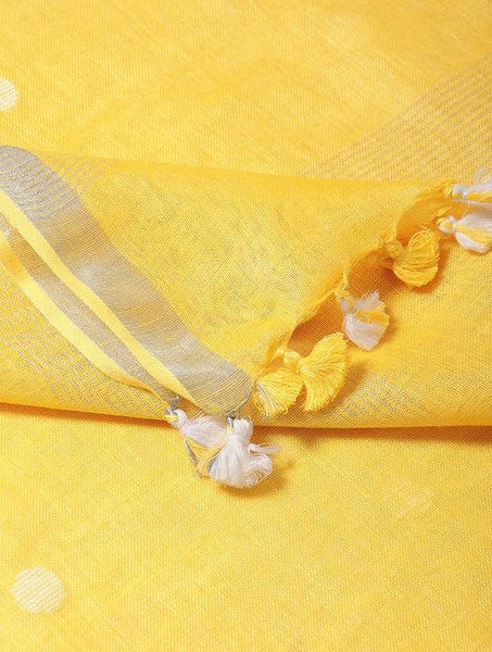 Yellow linen dupatta Sarees & Stoles The Neem Tree Sonal Kabra Buy Shop online premium luxury fashion clothing natural fabrics sustainable organic hand made handcrafted artisans craftsmen