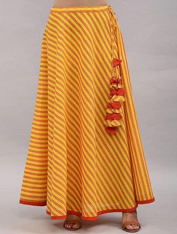 Yellow Orange Cotton Skirt Skirt The Neem Tree Sonal Kabra Buy Shop online premium luxury fashion clothing natural fabrics sustainable organic hand made handcrafted artisans craftsmen