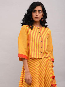 Yellow Orange Striped Cotton Top Top The Neem Tree Sonal Kabra Buy Shop online premium luxury fashion clothing natural fabrics sustainable organic hand made handcrafted artisans craftsmen