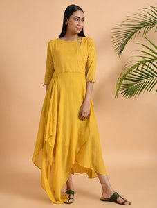Yellow overlap drape dress Dress The Neem Tree Sonal Kabra Buy Shop online premium luxury fashion clothing natural fabrics sustainable organic hand made handcrafted artisans craftsmen