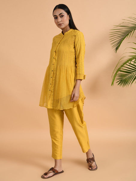 Yellow Pants Pants The Neem Tree Sonal Kabra Buy Shop online premium luxury fashion clothing natural fabrics sustainable organic hand made handcrafted artisans craftsmen