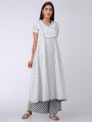 Yoke dress-Grey Dress The Neem Tree Sonal Kabra Buy Shop online premium luxury fashion clothing natural fabrics sustainable organic hand made handcrafted artisans craftsmen