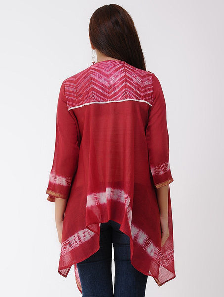 Zigzag drape top - Red Top Sonal Kabra Sonal Kabra Buy Shop online premium luxury fashion clothing natural fabrics sustainable organic hand made handcrafted artisans craftsmen
