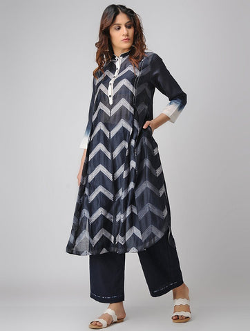 Zigzag kurta-Indigo Kurta Sonal Kabra Sonal Kabra Buy Shop online premium luxury fashion clothing natural fabrics sustainable organic hand made handcrafted artisans craftsmen