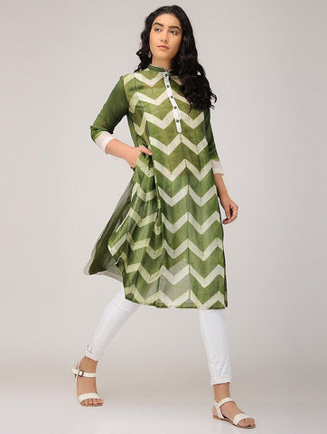 Zigzag shibori kurta-Olive Kurta Sonal Kabra Sonal Kabra Buy Shop online premium luxury fashion clothing natural fabrics sustainable organic hand made handcrafted artisans craftsmen