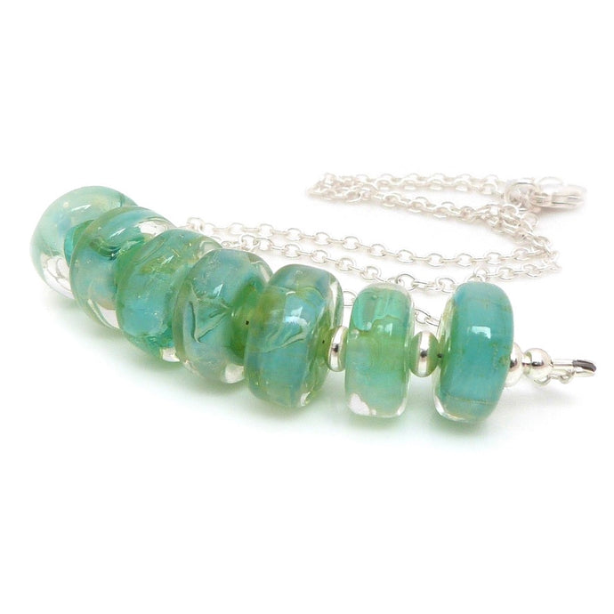 Aqua Green Blue Lampwork Glass bead and sterling silver necklace
