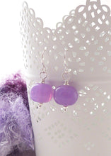 Wisteria Purple Lampwork Glass Bead and Silver Drop Earrings