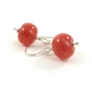 Coral red lampwork glass bead and sterling silver drop earrings
