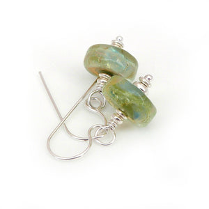 Lime green lampwork glass bead and sterling silver drop earrings