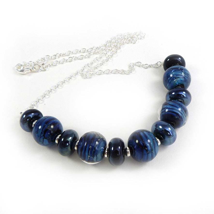 Dark Blue Lampwork Glass Bead and Silver Necklace