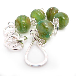 Bright Green Lampwork Glass Bead and Silver Chunky Bracelet