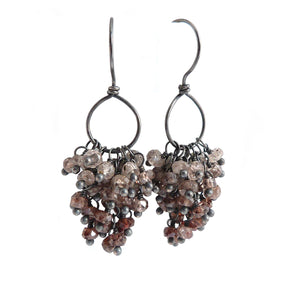 Brown Zircon Gemstone cluster earrings on oxidised sterling silver hook and hoop earwires