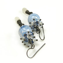 Blue and white lampwork bead, moonstone and oxidised silver handmade dangle earrings