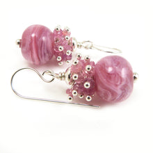 Pink Lampwork Glass Bead Pink Sapphire and Sterling Silver drop Earrings