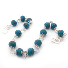 Teal Blue Lampwork Glass and Sterling Silver Handmade Necklace
