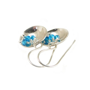 Bright Blue Apatite Gemstone and Sterling Silver Dangle Earrings