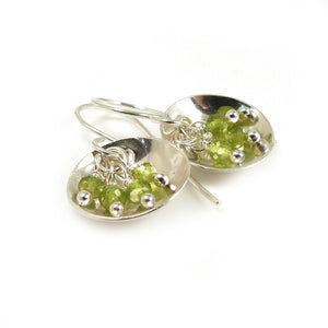 Olive Green Vesuvianite Gemstone and Sterling Silver Dangle Earrings