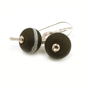 Deep Brown Lampwork Glass and Sterling Silver Drop Earrings